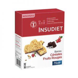 Packaging barres céréales Fruits rouges Chocolat noir Insudiet, 6 barres de 40g