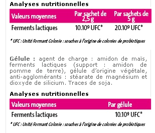 Valeur Nutritive Lactibiane Reference 4 Mrd. Pileje